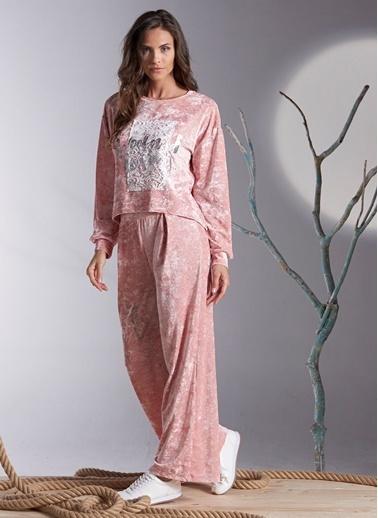 Gizzey Baskılı Pijama Takım Pembe